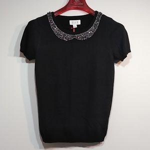 Elle sweater short sleeve, top blouse embellished